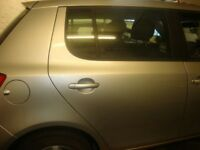 SKODA FABIA DRIVERS SIDE REAR OSR DOOR SHELL ONLY IN SILVER (2009-2014)
