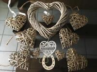 Selection of wicker hearts