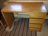 Desk, modern oak finish, from Habitat. 4 drawers. Very sturdy