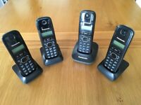 Set of 4 Panasonic Cordless Rechargeable Phones