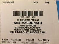 Amy MacDonald tickets x 3 (standing), Glasgow Barrowlands, Fri 15th Dec 2017