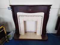 Ornate Mahogany Framed Tiled Fireplace and Hearth