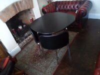 Me fern black and chrome space saver table and four chairs