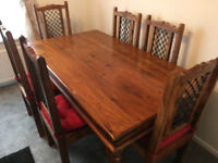 Solid Wood Table with 6 Chairs - As New Condition L=160cm, D=90cm, H=74cm, £250