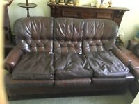 Brown LEATHER 3 price suite with extra leather cushions