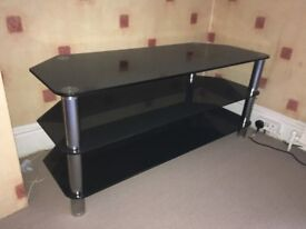 Black Glass and Chrome Corner TV Table from DFS