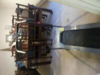 Electric treadmill hardly used. Folds flat fir easy storage.