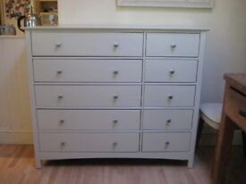 Lovely Large Solid Pine Chest of Drawers - Professionally painted in Farrow & Ball Eggshell