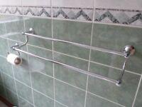 Bathroom Fittings - Chrome Towel Rails, Toilet Roll Holder and Mirror Set