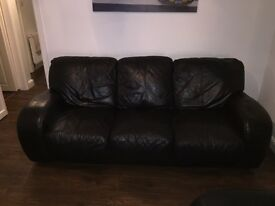 Dark Brown Leather 3-Seater sofa and Chair - Decent Conditon £100 ono