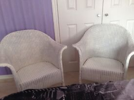 2 wicker chairs, Lloyd loom style.Good condition, sturdy. May need repainting