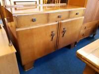 Vintage Oak Veneer Chunky Deco Style Sideboard