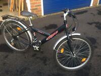"Black children's Pegasus bike, 12"", 6 gears, lights, reflectors, and bell"