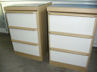 Two bedside chests of drawers