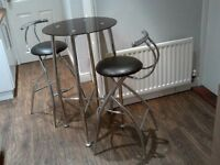 TABLE AND HIGH STOOLS FOR KITCHEN, BISTRO STYLE SMOKED GLASS AND CHROME, NICE LITTLE SET