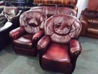As new 3 11 leather sofa set
