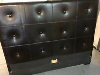VERY NICE REAL BROWN LEATHER DOUBLE 5' BED FRAME