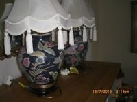 VERY NICE TABLE OR BEDSIDE LAMPS and SHADES