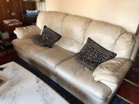 3 piece cream leather sofa suite