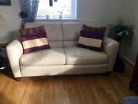 Great condition. Leather Sofa , armchair. Cream Leather Sofa bed.