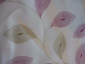 Cream Leaf Patterned Lined Curtains.