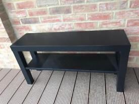 Ikea TV bench in black with pillows