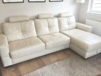 Cream Leather Sofa with Double Sofa-Bed & Chaise
