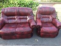 Italian leather 2 seater and single seater sofa £60.00