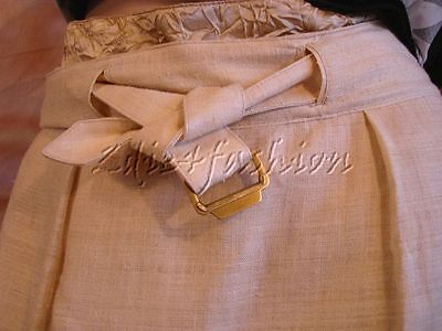 $1180 New YVES SAINT LAURENT YSL Khaki Tan Silk Crinkle Trim Belt Skirt 10 42