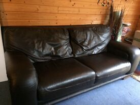 Brown leather sofa and 1 armchair