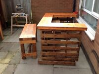 Outdoor bar and bench