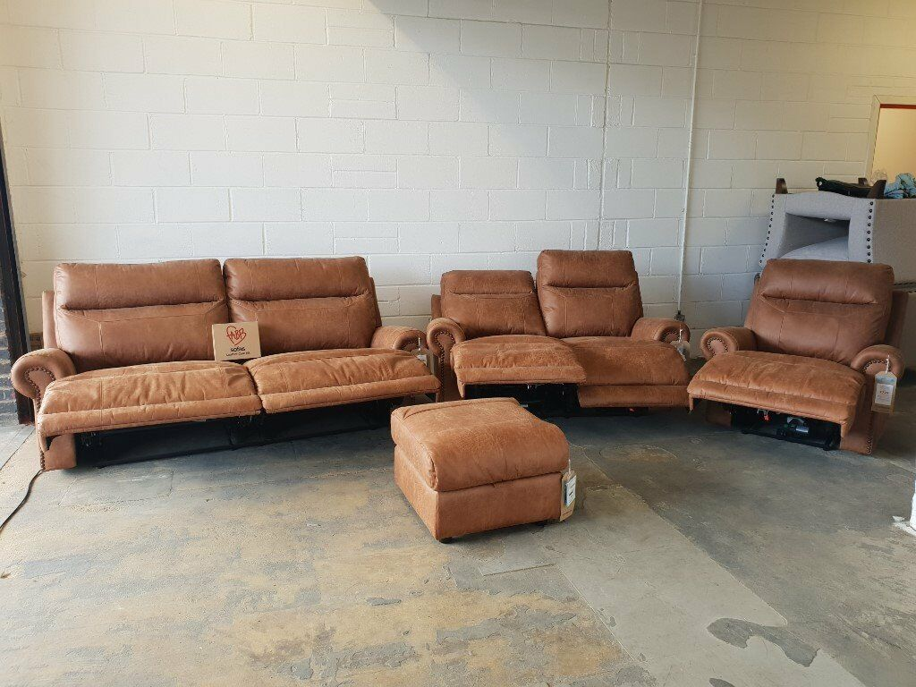 Fabb Sofas Denver Brown Leather Reclining Suite 3 Seater 2 Sofa Armchair Footstool Recliner