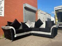 Silver & black velvet corner sofa delivery 🚚 sofa suite couch furniture