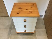 Pine and white Bedside Table