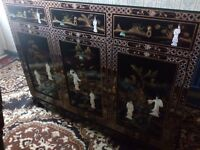 Oriental glass top mother of pearl sideboard forsale