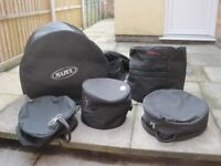 !! 5 WELL USED SELECTION OF OLD DRUM BAGS BARGAIN!! (Collection LE27QT)