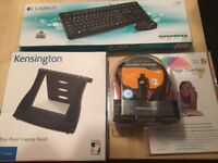 New PLantronics headset, Logitech keyboard and mouse and document stand for sale