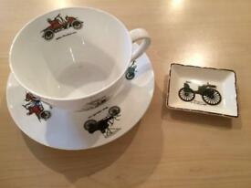 Vintage car tea cup and tray