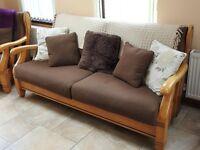 3 Piece borwn/wooden suite