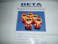 Singing and dancing santas