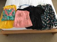 5x size 14 tops (from left):