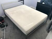 King size Tempur Mattress Deluxe and Stylish King Size Chrome Bed Frame