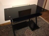 Compter Desk - Black Glass, with sliding keyboard shelf. Excellent condition, less than 1 year old.