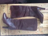 Russel & Bromley Ladies brown leather knee high boots