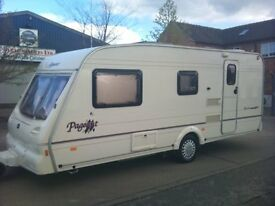 4 Berth Bailey Pageant Moselle (2001) CRIS registered. Alko hitch lock. Includes Bradcot awning.