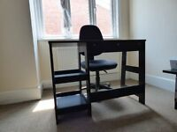 Small black desk and chair