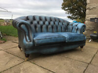 2 seater antique blue chesterfield sofa DELIVERY AVAILABLE