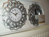 NEW Set of three Moroccan inspired mirrors and clock set in silver