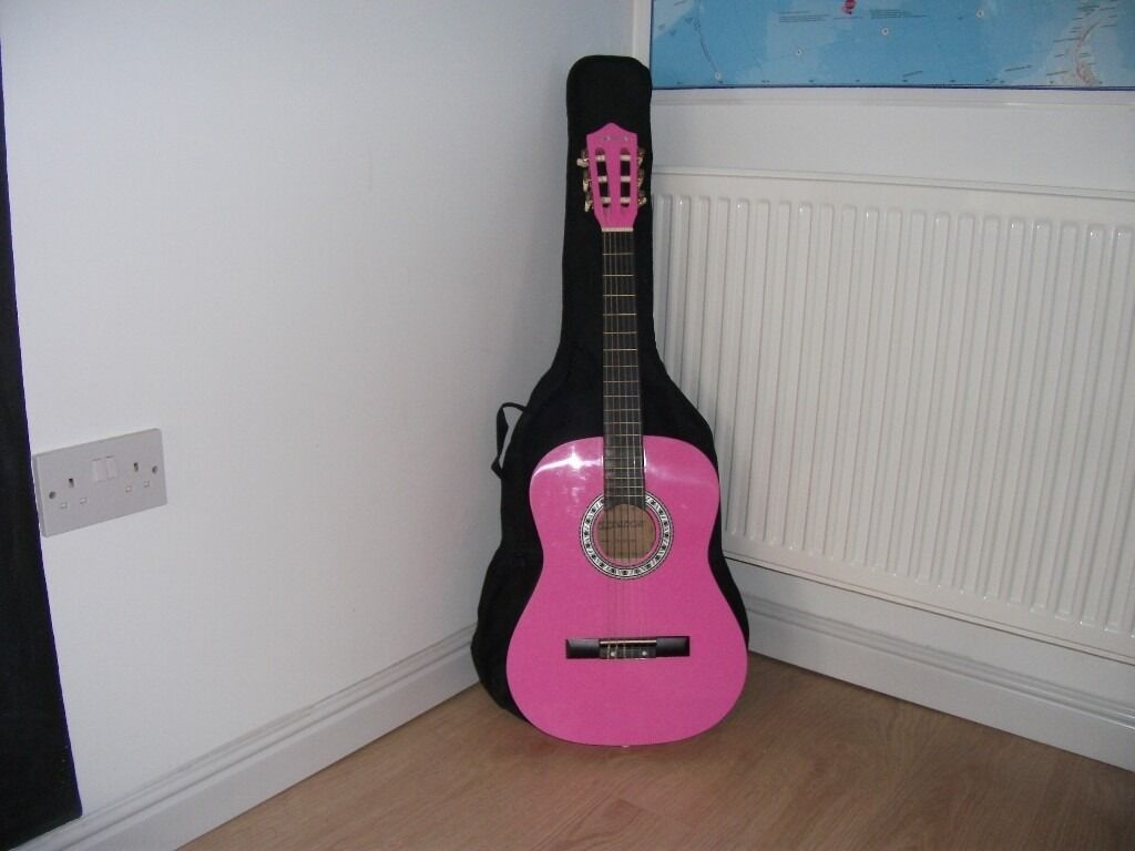 NEW ACOUSTIC PINK GUITAR WITH BLACK CARRIER CASE IN BOX WITH INSTRUCTIONS * CHRISTMAS PRESENT *