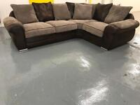 Brown Leather and Chord 5 Seater Corner Sofa